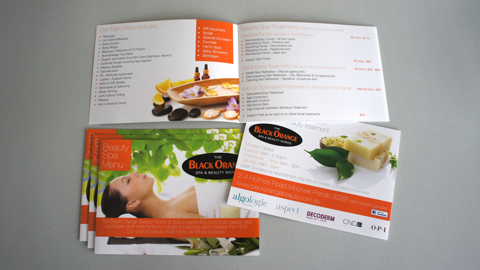 black-orange-moonee-ponds-beauty-salon-spa-brochure-catalogue-design-printing