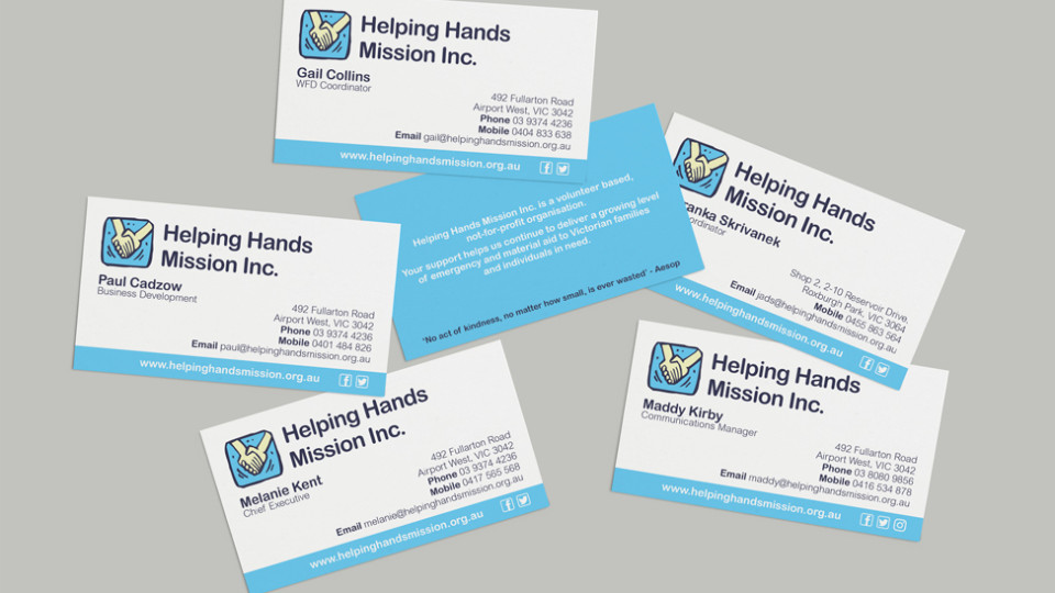 Stationery signage printing helping hands mission inceapro helping hands business cards ideapro graphic design printing reheart Gallery
