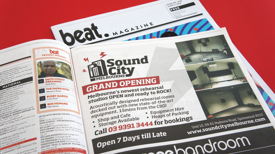Sound-City-Melbourne-Rehearsal-Studio-Advertising-Advert-Beat-Magazine-Melbourne-graphic-design
