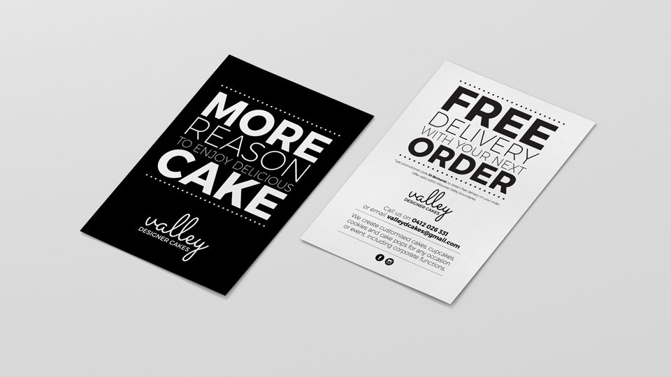 Valley-Designer-Cakes-A6-promotional-cards-graphic-design-ideapro